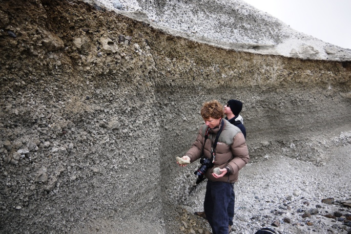 James and Clive examining millennium ash layer at caldera